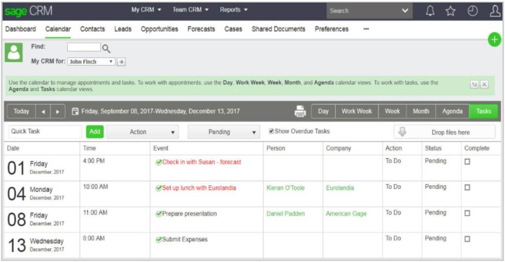 Sage CRM 2018 Calendar screenshot image