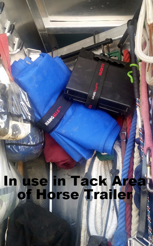 Hang-All shown in use in rear Tack Area of Horse Trailer