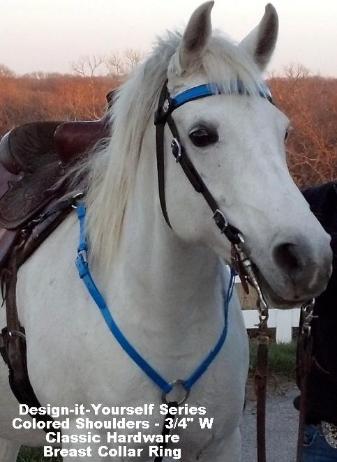 Endurance Style Breast Collar - BioThane - Colored Shoulders - Classic Horseshoe Hardware