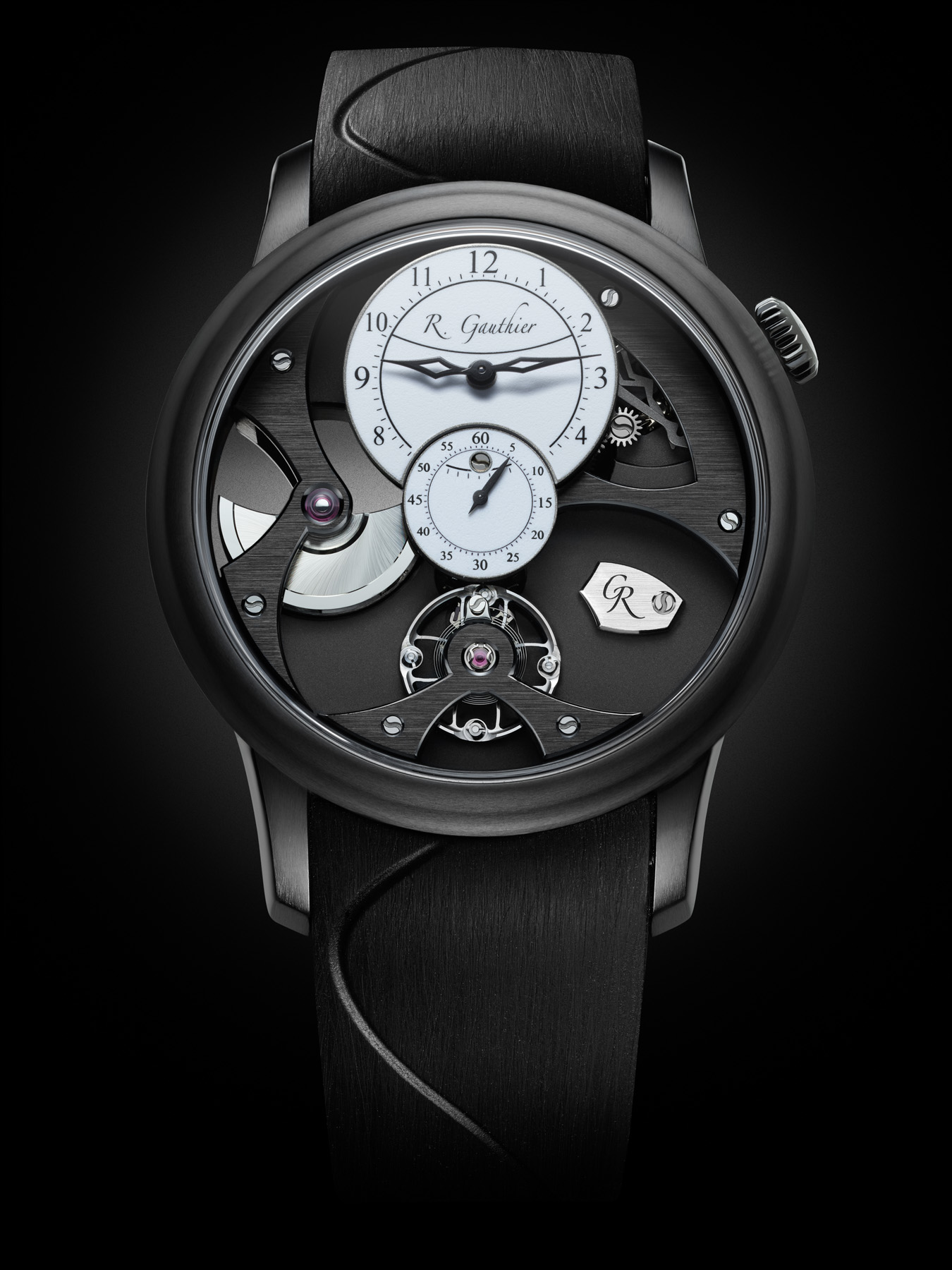 Insight Micro-Rotor Black Titanium with hand-frosted, oven-fired white enamel dial