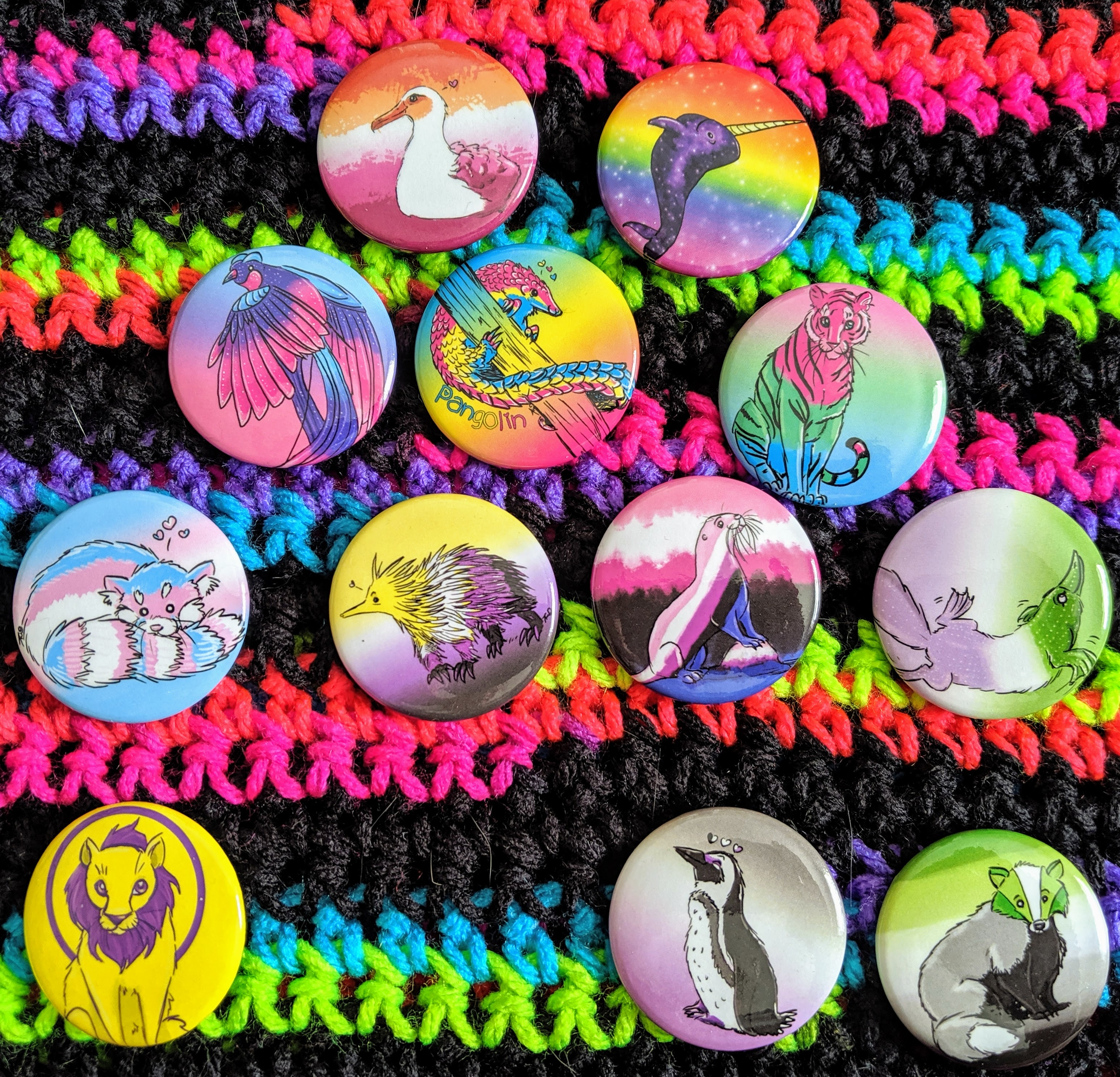 photo of animal buttons in various Pride flag colors