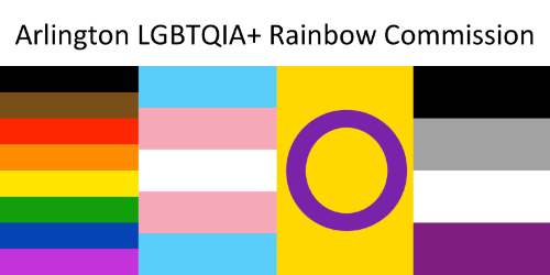 Image of truncated versions of 4 Pride flags: rainbow with black and brown stripes (popularized at Philly Pride), trans, intersex, and asexual