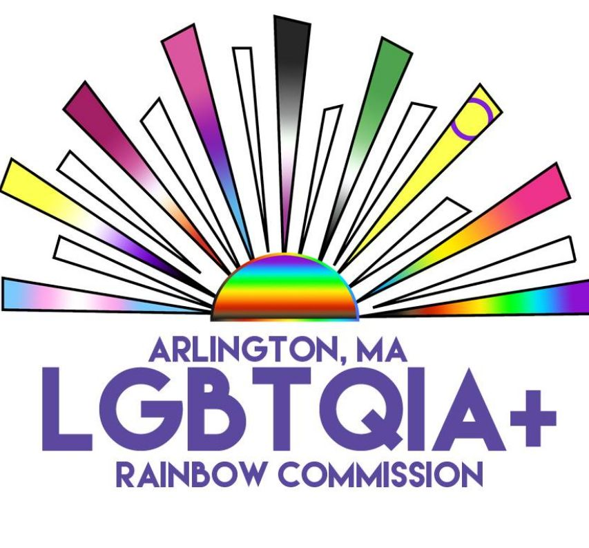 Logo of a rising rainbow sun with the rays in various Pride flag colors above text saying Arlington, MA LGBTQIA+ Rainbow Commission
