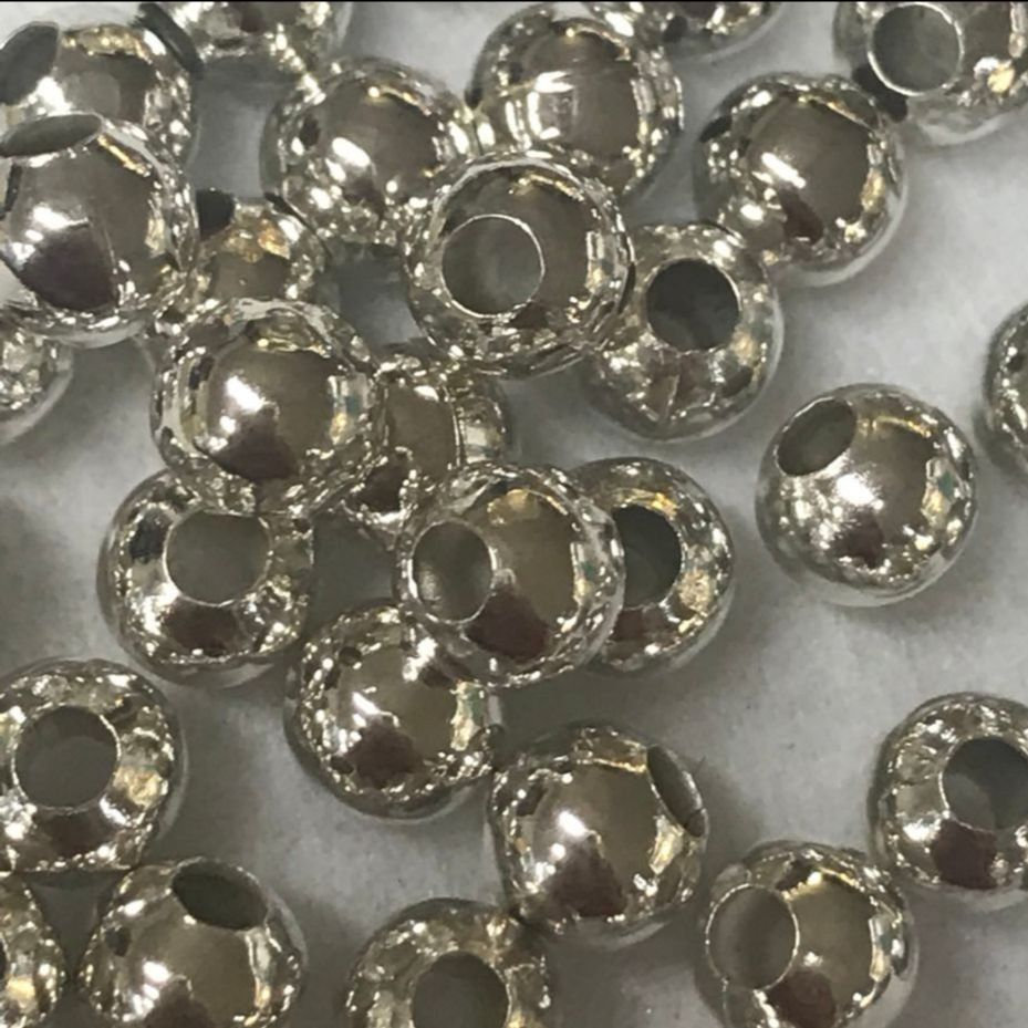 Silver plated brass beads