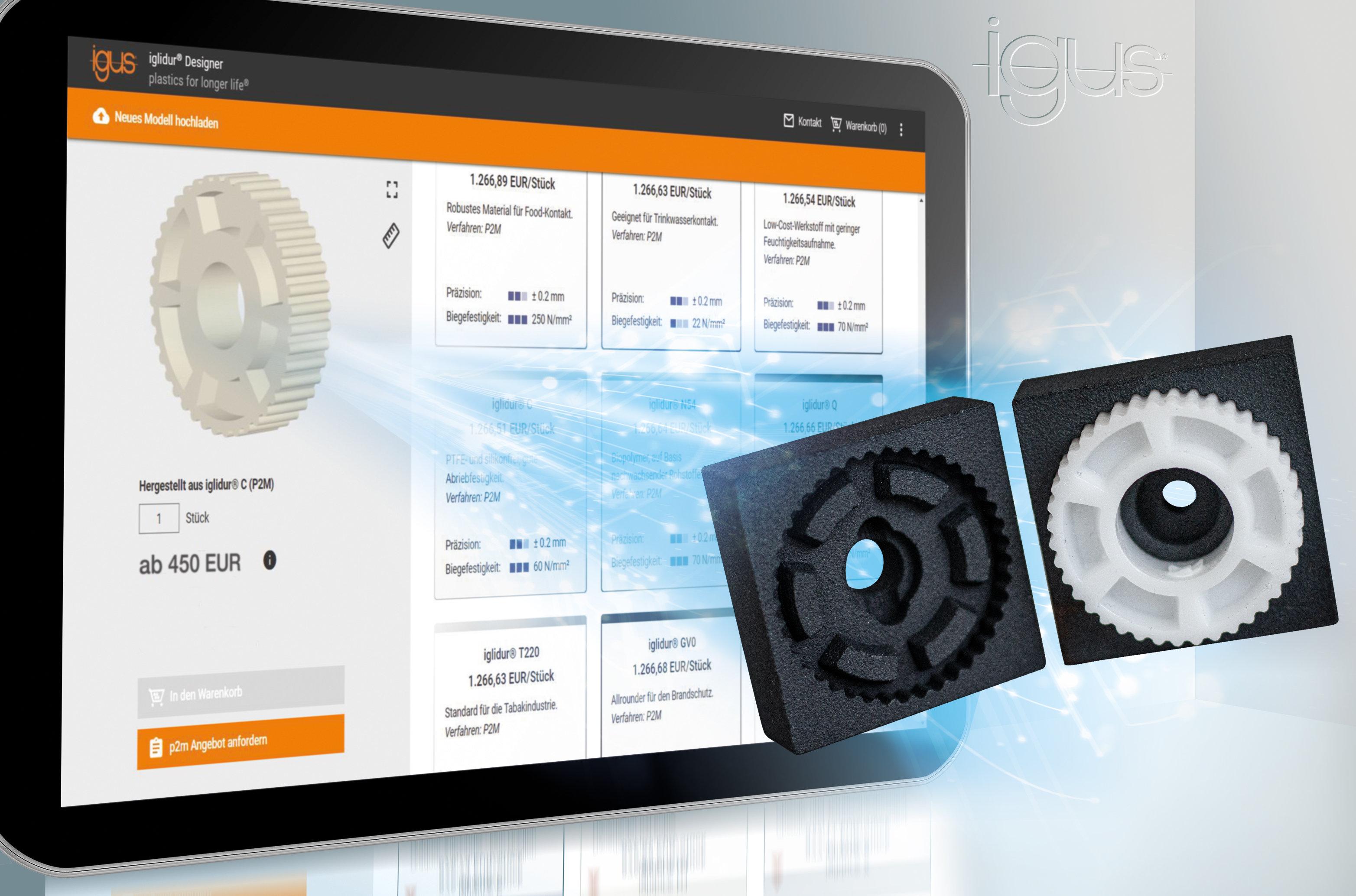 Igus erweitert seinen 3D-Druckservice um das Print2Mould-Verfahren mit gedruckten Spritzgusswerkzeugen. So kann der Anwender online sein verschleissfestes Sonderteil im passenden schmier- und wartungsfreien Werkstoff bestellen. (Bild: igus)
