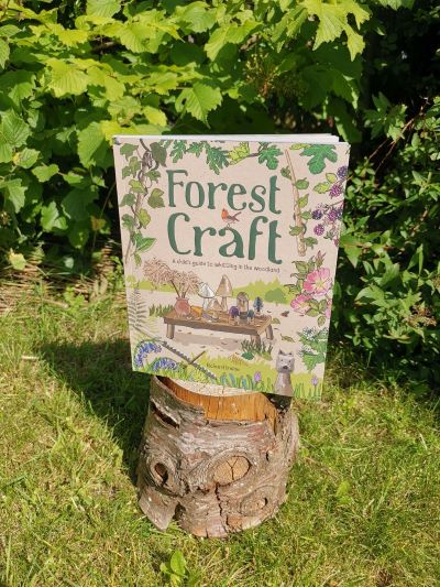 a book on a tree stump - the title is Forest Craft a child's guide to whittling in the woodland