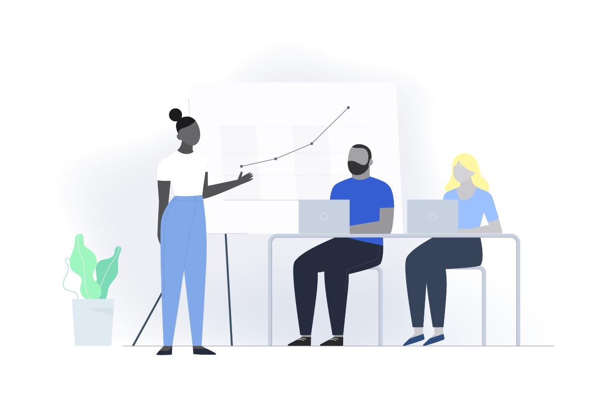Un equipo de diseño de mujeres y hombres ante una gráfica que escala