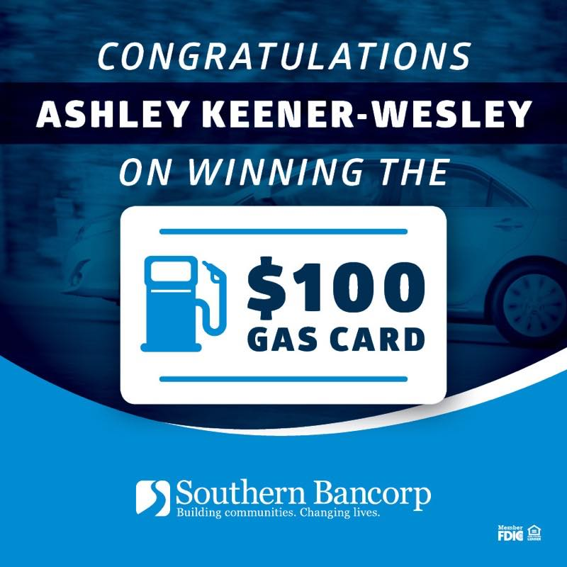 Congratulations Ashley Keener Wesley on winning the $100 gas card
