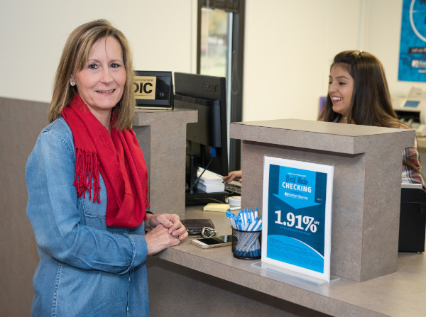 customer helped by teller