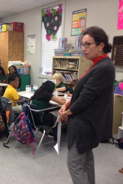 Southern Bancorp's Rita Cauthen speaking to students about banking