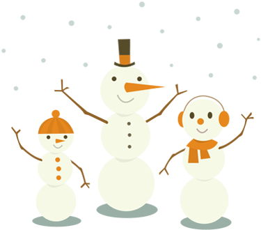 Three happy snowmen