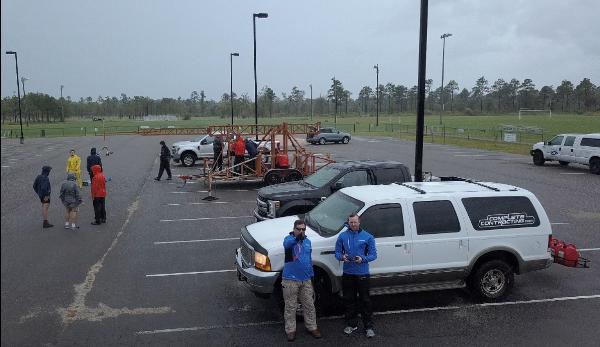 John Minor & Matt Miller of CGC at the FCMP site during Hurricane Florence