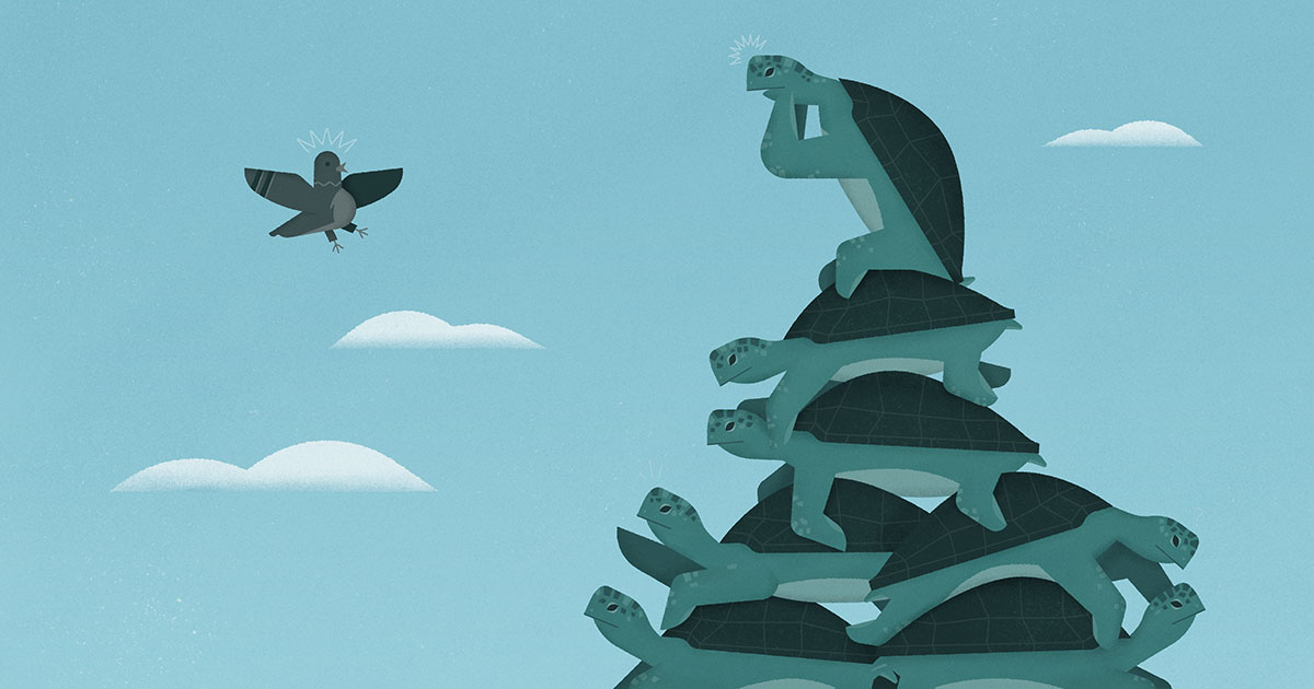Illustration of flying bird confronting a bottomless stack of turtles.