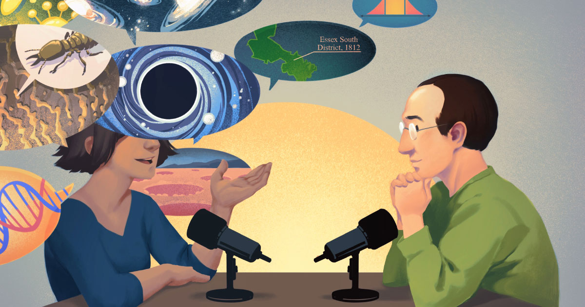 Podcast host Steven Strogatz listens to someone speaking of diverse science subjects.