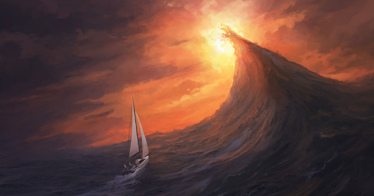 Artist's conception of a rogue wave about to capsize a sailboat.