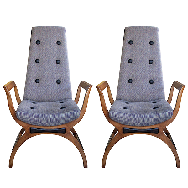 4307 a stylish pair of american 1960's high-back open arm lounge chairs in the manner of adrian pearsall 1960's