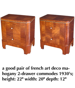 a good pair of french art deco mahogany 2-drawer commodes 1930's