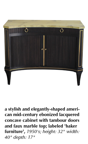 a stylish and elegantly-shaped american mid-century ebonized lacquered concave cabinet with tambour doors and faux marble top; labeled 'baker furniture', 1950's