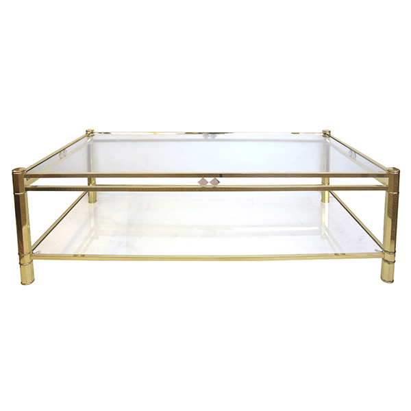 50045 a good quality french 1970's neogothic-inspired rectangular brass coffee table with glass top and lower shelf 1970's
