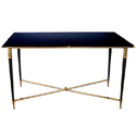 50085 french 1940s brass and metal rectangular coffee/cocktail table with black glass top
