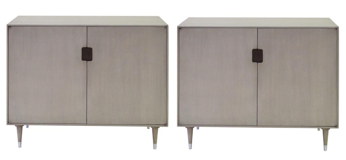 4404 - a sleek pair of danish modern mid-century gray-washed birchwood 2-door console cabinets mid century