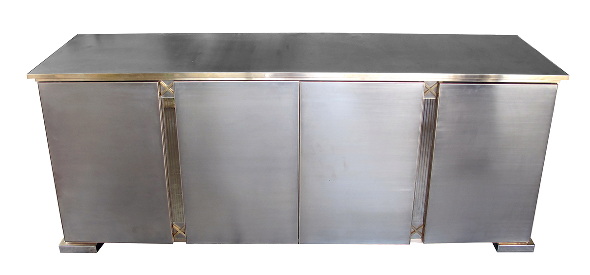 50047 a good quality belgian 1970's brushed chrome and brass 4-door sideboard by belgo chrome 1970's
