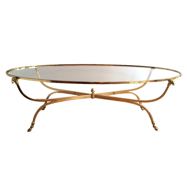 4122 a stylish and good quality french mid-century modern brass oval coffee table with glass top; by maison jansen, paris 1950's