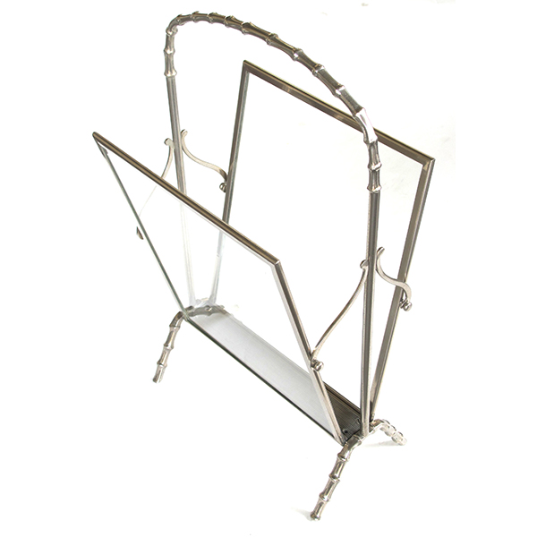 4297 a chic and stylish french maison bagues 1940's chrome and glass faux bamboo magazine rack 1940's