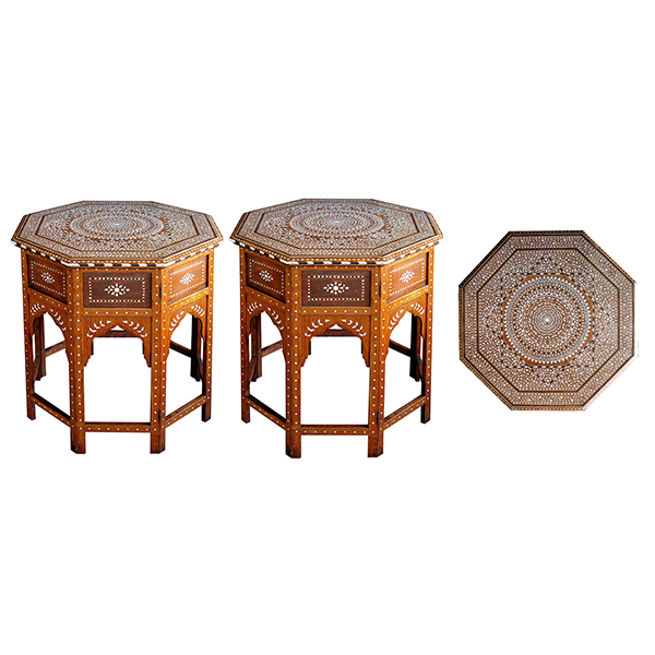 4402 an unusually large and finely inlaid pair of anglo-indian octagonal traveling tables