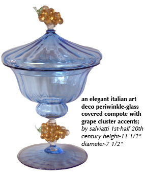 an elegant italian art deco periwinkle-glass covered compote with grape cluster accents; by salviatti 1st-half 20th century