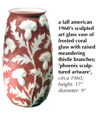 a tall american 1960's sculpted art glass vase of frosted coral glass with raised meandering thistle branches; 'phoenix sculptured artware', circa 1960
