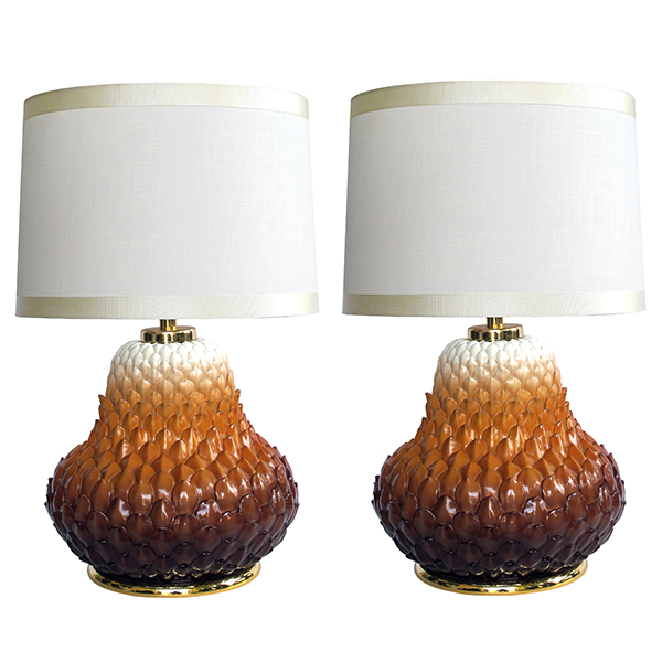50038 an exceptional and large-scaled pair of french 1960's russet-glazed artichoke-form porcelain lamps