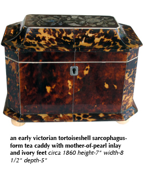 an early victorian tortoiseshell sarcophagus-form tea caddy with mother-of-pearl inlay and ivory feet circa 1860