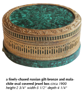 a finely-chased russian gilt-bronze and malachite oval covered jewel box circa 1900