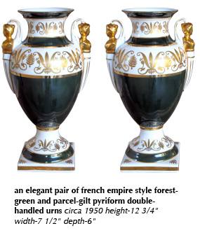 an elegant pair of french empire style forest-green and parcel-gilt pyriform double-handled urns circa 1950