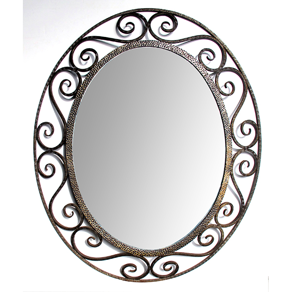 50067 a hand-crafted french art deco openwork iron oval mirror in the style of edgar brandt 1930's