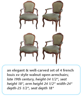 elegant & well-carved set of 4 french fouis xv style walnut open armchairs late 19th century