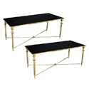 4057 pair of french 1940s brass rectangular coffee tables