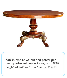 danish empire walnut and parcel-gilt oval quadruped center table circa 1820