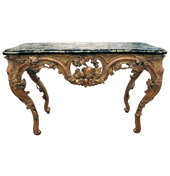 a curvaceous and finely carved french regence giltwood console table with grape vine motif and sage green marble top  circa 1730