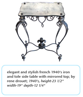 elegant and stylish french 1940's iron and tole side table with mirrored top by rene drouet 1940s