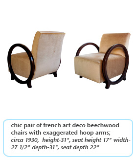 chic pair of french art deco beechwood chairs with exaggerated hoop arms circa 1930