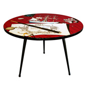 a stylish french 1960's round side/coffee table with laminated top of a marine scene; by swiss-born photographer jean clemmer (b. 1926 d. 2001) circa 1960