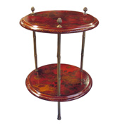 an elegant french 1950's 2-tier crimson chinoiserie circular side table  1950, bagues