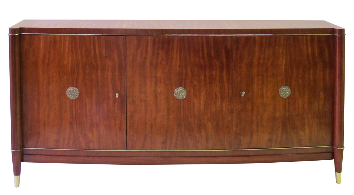 50073 - a rare and exceptional quality 1940's 3-door tiger mahogany bowfront sideboard by coene de frères, belgium, 1940's