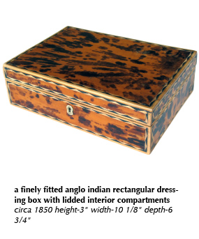 a finely fitted anglo indian rectangular dressing box with lidded interior compartments circa 1850