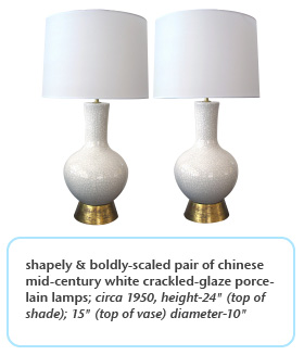 shapely & boldly-scaled pair of chinese mid-century white crackled-glaze porcelain lamps circa 1950