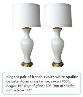 elegant pair of french 1960's white opaline baluster-form glass lamps circa 1960s