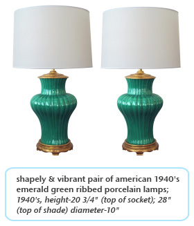 shapely & vibrant pair of american 1940's emerald green ribbed porcelain lamps 1940s