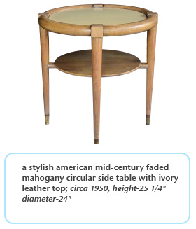 stylish american mid-century faded mahogany circular side table with ivory leather top circa 1950
